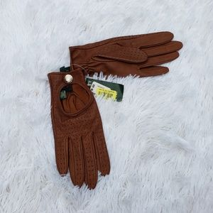 NWT Ralph Lauren Brown Leather Gloves Small